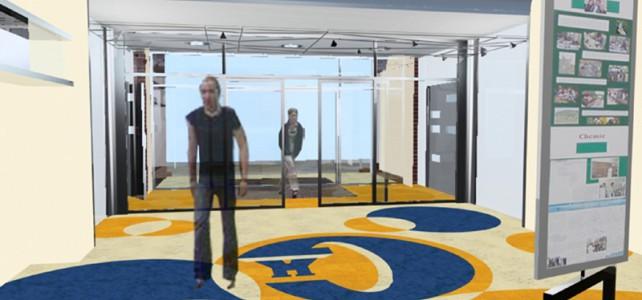 Interiér vstupní haly gymnázia – Vlašim