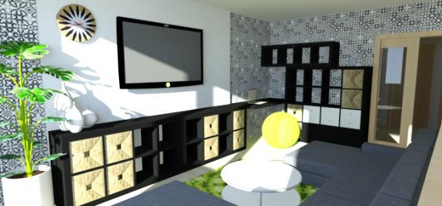 Interiér obývacího pokoje bytu v panelovém domě