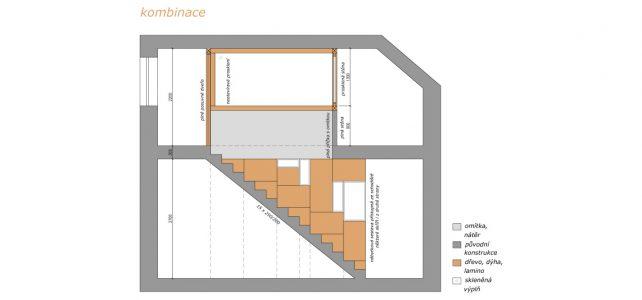 Oddělení prostor 1 a 2 NP. ve dvougeneračním domě