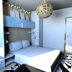 Interiér malé ložnice s nádechem moře