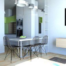 Interiér obývací místnosti a kuchyně pro mladý pár